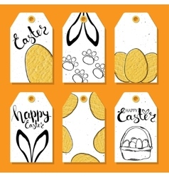 Colorful collection of tags and labels for Easter vector image