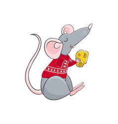 Colorful rat wear christmas vector