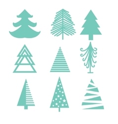 Creative green mint Christmas tree set vector