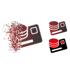 Decomposed pixel halftone credit card and coins vector