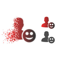 Disintegrating pixelated halftone user glad smiley vector