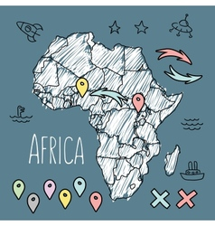 Doodle Africa map on blue chalkboard with pins and vector image