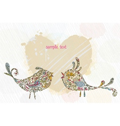doodles background with colorful birds vector image