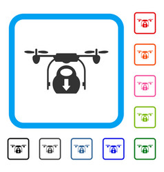 drone drop cargo framed icon vector image