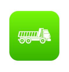 Dumper truck icon digital green vector