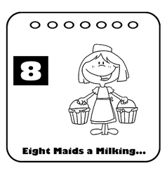 Eight maids a milking vector