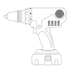 Electric drill contour vector