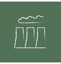 Factory pipes icon drawn in chalk vector