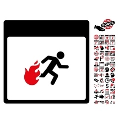 Fire Evacuation Man Calendar Page Flat Icon vector