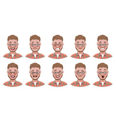 flat handsome bearded man vector image