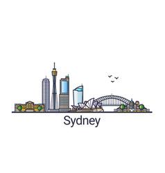 Flat line sydney banner vector