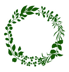 Frame sprigs with green leaves vector