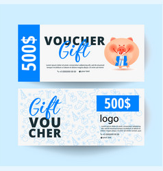 Gift voucher with pig and modern pattern vector