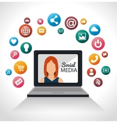 girl laptop networking social media vector image