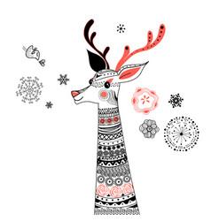 Graphic portrait ornamental deer vector