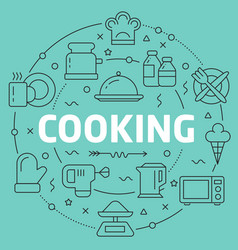 green line flat circle cooking vector image