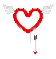 heart shape with angel wings and a cupid arrow vector image