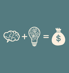 Idea is money concept brain idea money vector