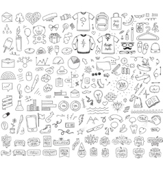 Isolated sketch objects bundle Mega set of vector image