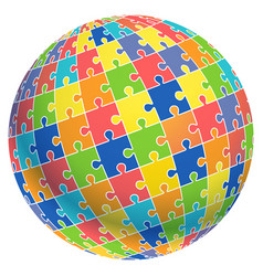 jigsaw puzzle ball template background vector image