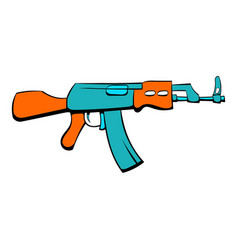 Kalashnikov assault rifle icon cartoon vector