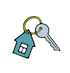 Keyring in shape of building vector