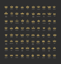 King and queen crowns symbols vector