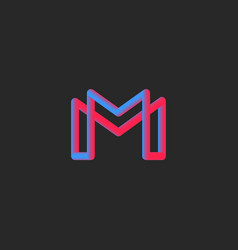 Letter m logo monogram 3d gradient color vector