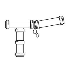 line plumbing tube repair equipment construction vector image