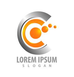 logo concept design geometric shiny letter cc vector image