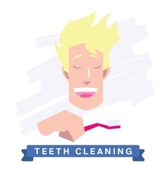 Man cleaning teeth Beautiful white teeth smile vector image