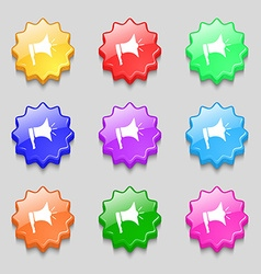 Megaphone soon icon Loudspeaker symbol Symbols on vector image