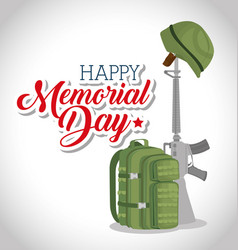 memorial day card with rifle war vector image