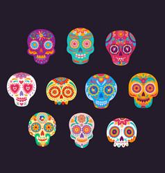mexican calavera cartoon sugar skulls set vector image