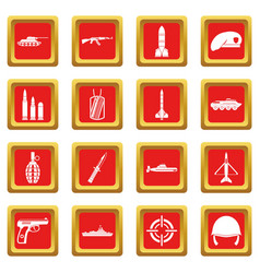 Military icons set red vector
