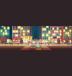 modern city street at evening cartoon vector image