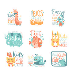 Modern logo design for kids with animals and vector