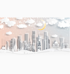 moscow russia skyline in paper cut style vector image