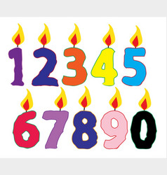 Number burning isolated candles vector