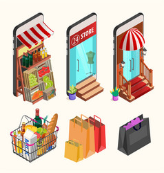 online shopping concept isometric smartphones vector image