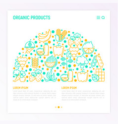 organic products concept in half circle vector image