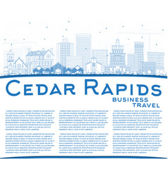 Outline cedar rapids iowa city skyline with blue vector