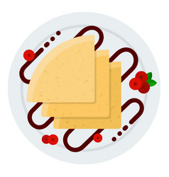 plate pancakes with chocolate and berries icon vector image