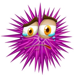 Purple thorn ball with crying face vector