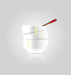 Realistic hot noodle soup with bowl and wood vector