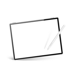 realistic tablet with stylus pen mockup vector image
