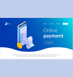 receipt on mobile phone screen online shopping vector image