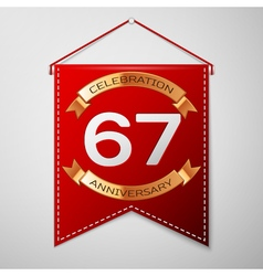 Red pennant with inscription sixty seven years vector
