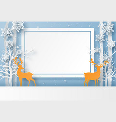 reindeer in forest with snowflake vector image