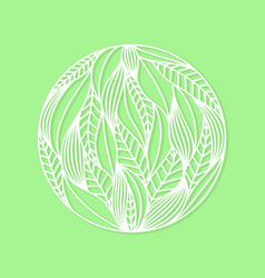 Round composition made of whiye leaves on green vector